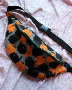 "Chonky Black Cat In The Pumpkin Patch Fanny Pack or Sling Bag - READY TO SHIP - 36""-48"""