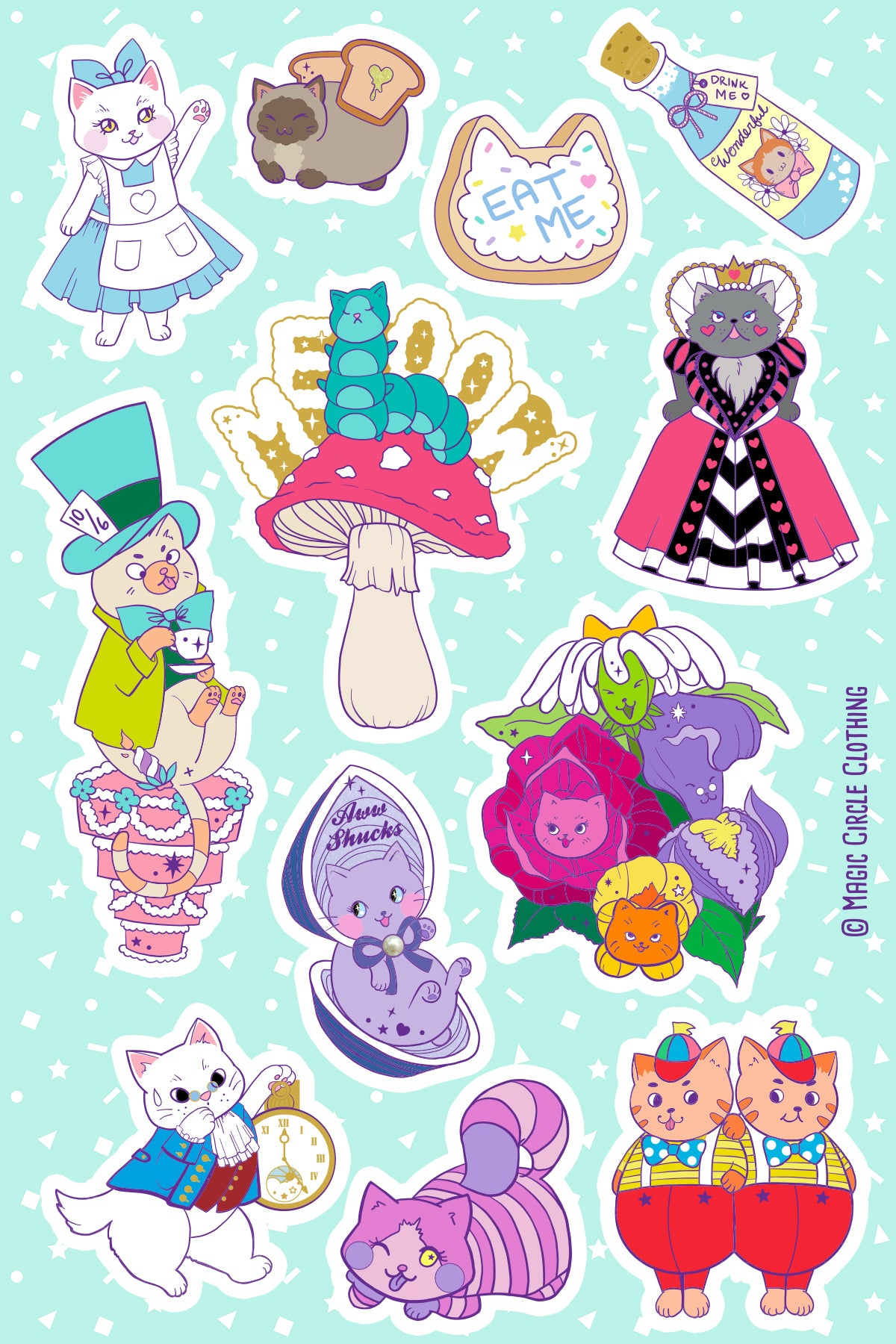 Kitties In Wonderland Series Vinyl Sticker Sheet