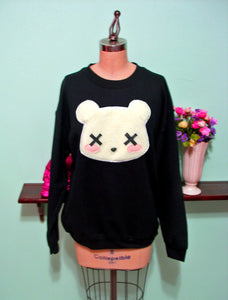 LIMITED RE-RELEASE Pastel Goth Kawaii Grunge Deaddy Bear - Dead Teddy Bear Oversized Sweatshirt