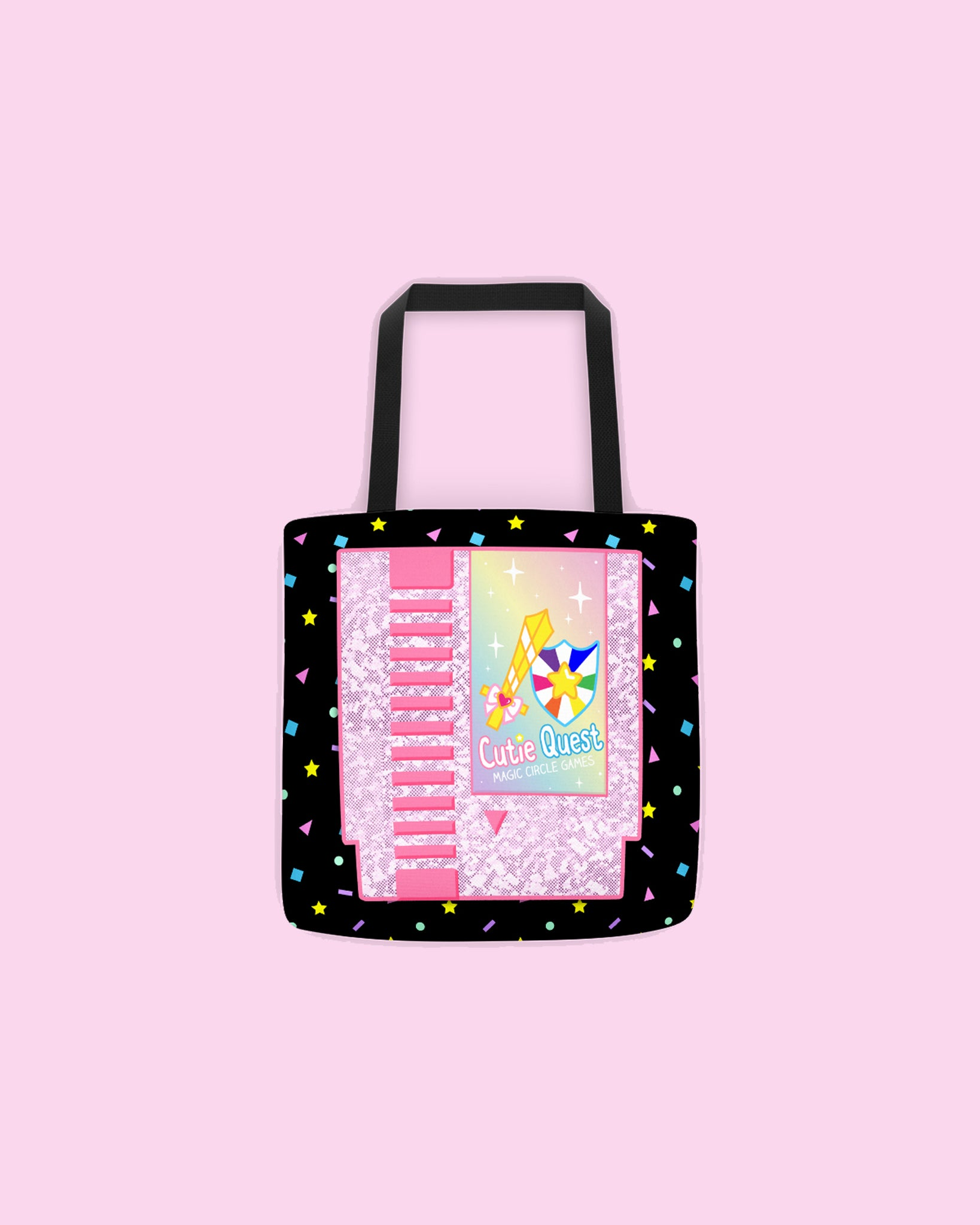 Cutie Quest Cartridge Video Game Inspired Tote Bag - Sublimation Printed