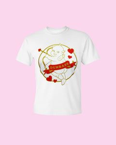 Stupid Cupid Screen Printed T-Shirt - Metallic Gold and Red on White