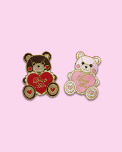 Dump Him Bear Embroidered Iron On Patch - Valentine's Day Pink or Red