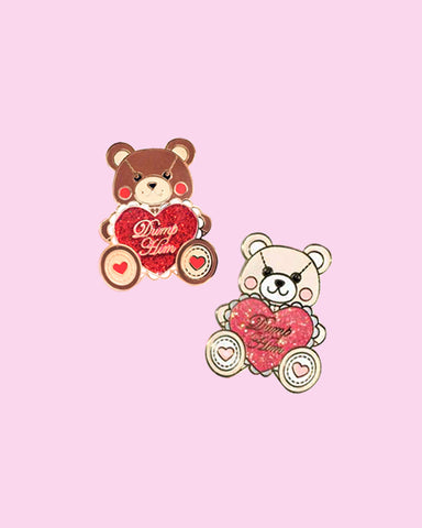 Valentine's Day Dump Him Bear Enamel Pin with Glitter