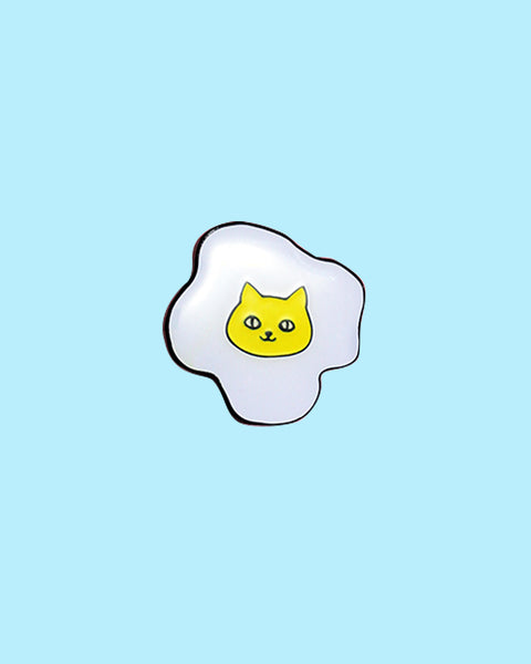 Cat Egg Enamel Pin - Soft Enamel with Epoxy Kitty Fried Egg Brooch