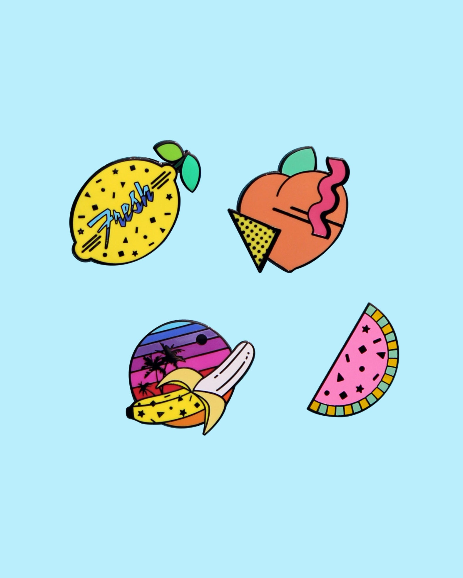 Ready To Ship Fresh & Fruity Enamel Pin Collection - Watermelon Peach Banana Lemon 80s 90s Confetti Memphis Style