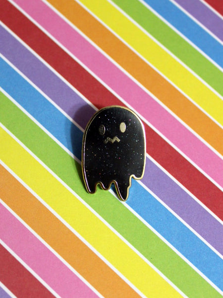 Uneasy Ghost Glitter Enamel Pin - Black with Iridescent Glitter Hard Enamel Halloween