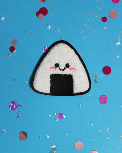 Kawaii Onigiri Sew-On Chenille Patch - 2 Colors Black or Light Blue - Flair Food Rice Ball Anime