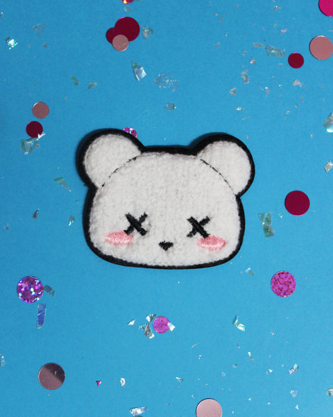 Kawaii Pastel Goth Deaddy Bear Sew-On Chenille Patch - 2 Colors Black or Light Blue - Flair Teddy Bear