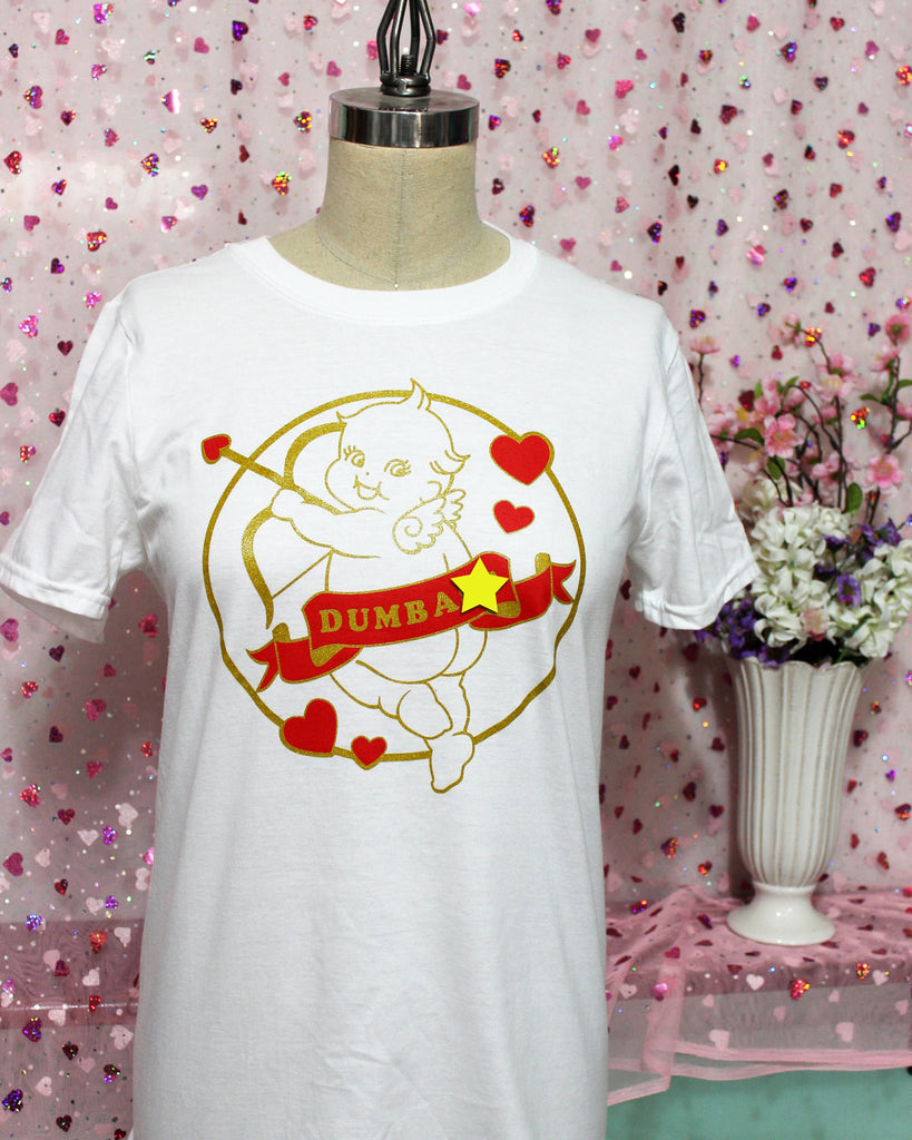 1b209767a ... Stupid Cupid Screen Printed T-Shirt - Metallic Gold and Red on White ...