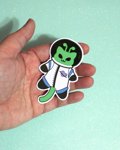 Martian Kitty Astronaut Vinyl Sticker - Water Resistant Cat Space Suit Sticker