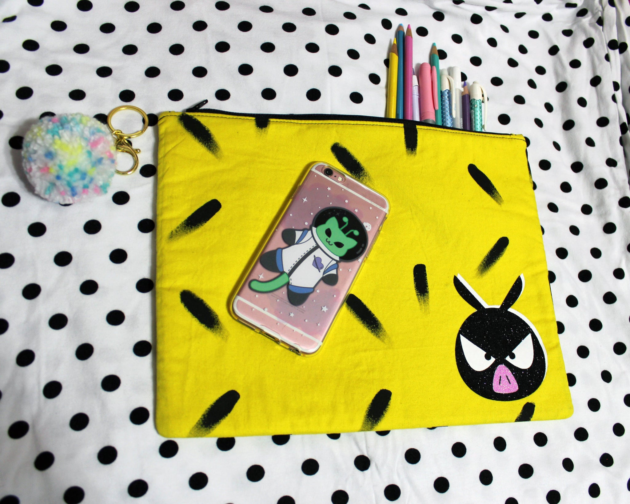 Little Black Pig Anime Inspired Zipper Pouch - Handmade with Hand Painted Fabric LIMITED