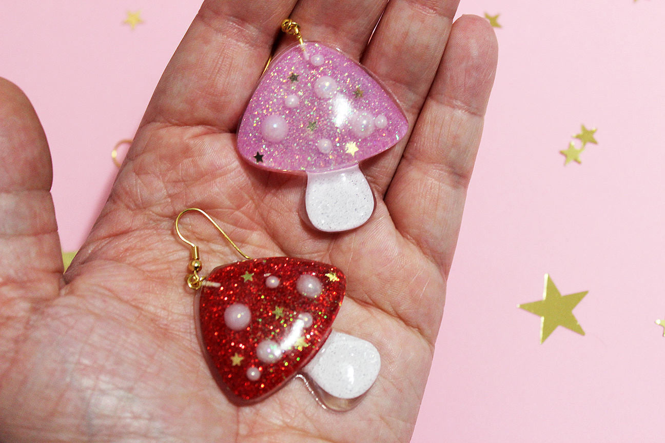 Magic Mushroom Glittery Shroom Earrings