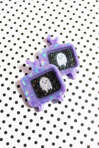 Pastel Goth Poltergeist Holographic Ghost Brooch Earrings Charm Necklace - CUSTOM Made Glittery TV Design