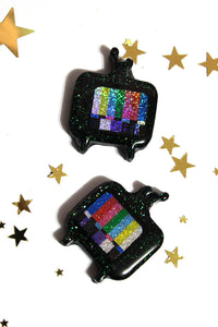 Holographic Rainbow Test Screen Television Brooch Earrings Charm Necklace - CUSTOM Made Glittery TV Design