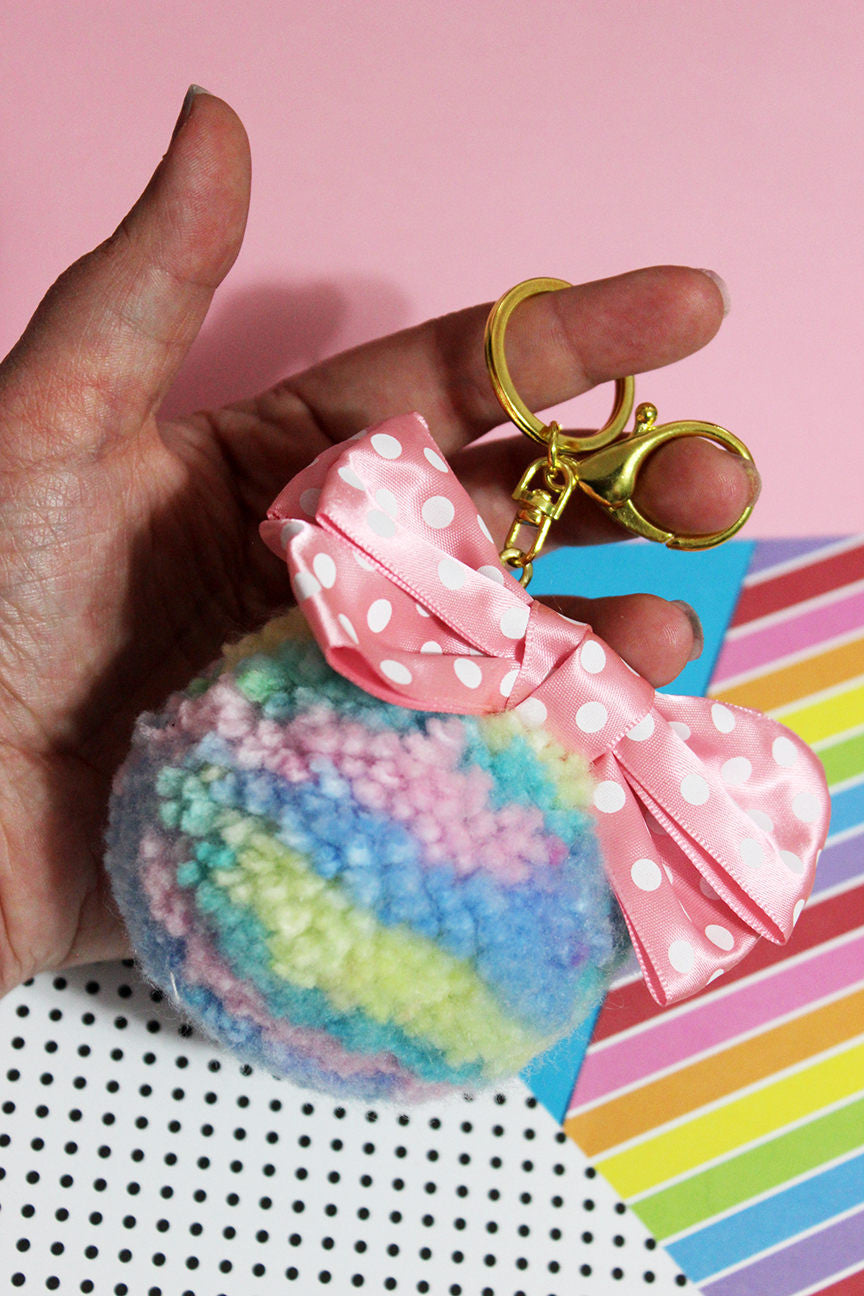 Pastel Rainbow Planet Mega Pom Pom Key Chain with Polka Dot Bow OOAK