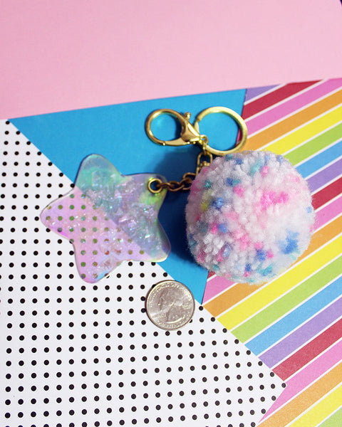 Pastel Rainbow Sprinkles & Holographic Vinyl Crackle Star Standard Size Pom Pom Key Chain With or Without Metallic Bow CUSTOM