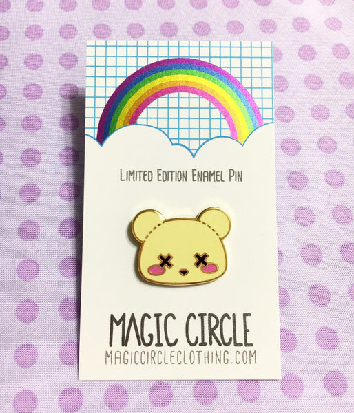 Pastel Goth Deaddy Bear Limited Edition Hard Enamel Lapel Pin - Gold Finish