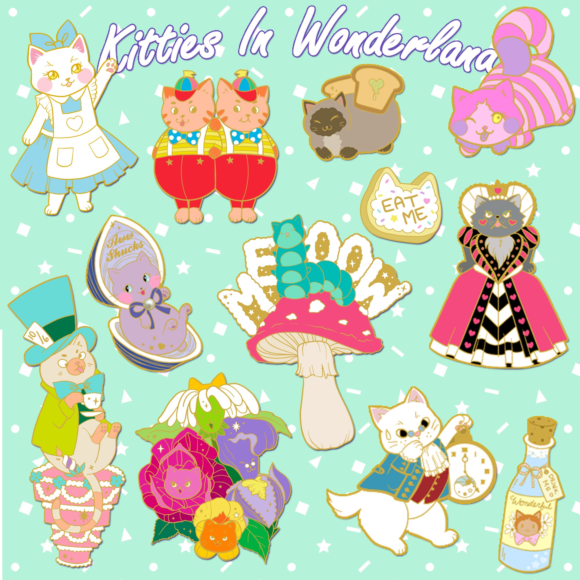 Kitties In Wonderland Complete Pin Collection