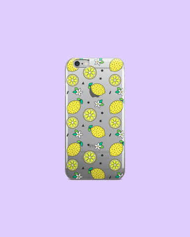 Lemon Confetti Clear Plastic Phone Case for iPhones - Citrus Lemonade