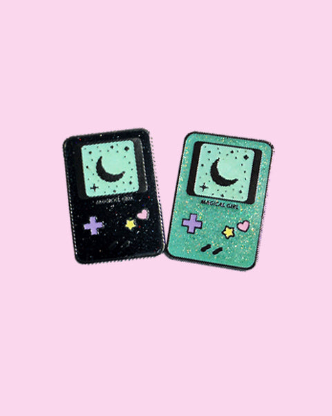 Magical Girl Gameboy Inspired Glitter Hard Enamel Pin - Ready To Ship! Blue, Green or Black!