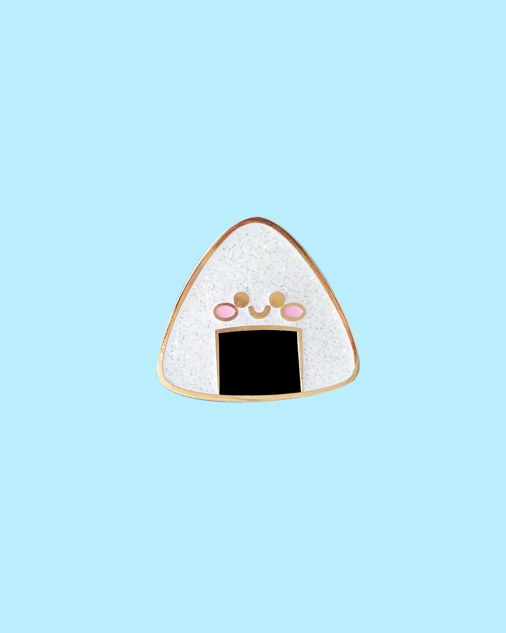 Kawaii Onigiri Rice Ball Pin - Hard Enamel with Glitter