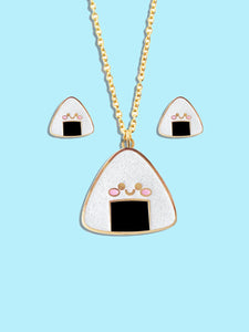 Kawaii Onigiri Rice Ball Jewelry - Hard Enamel with Glitter Earrings Pendant