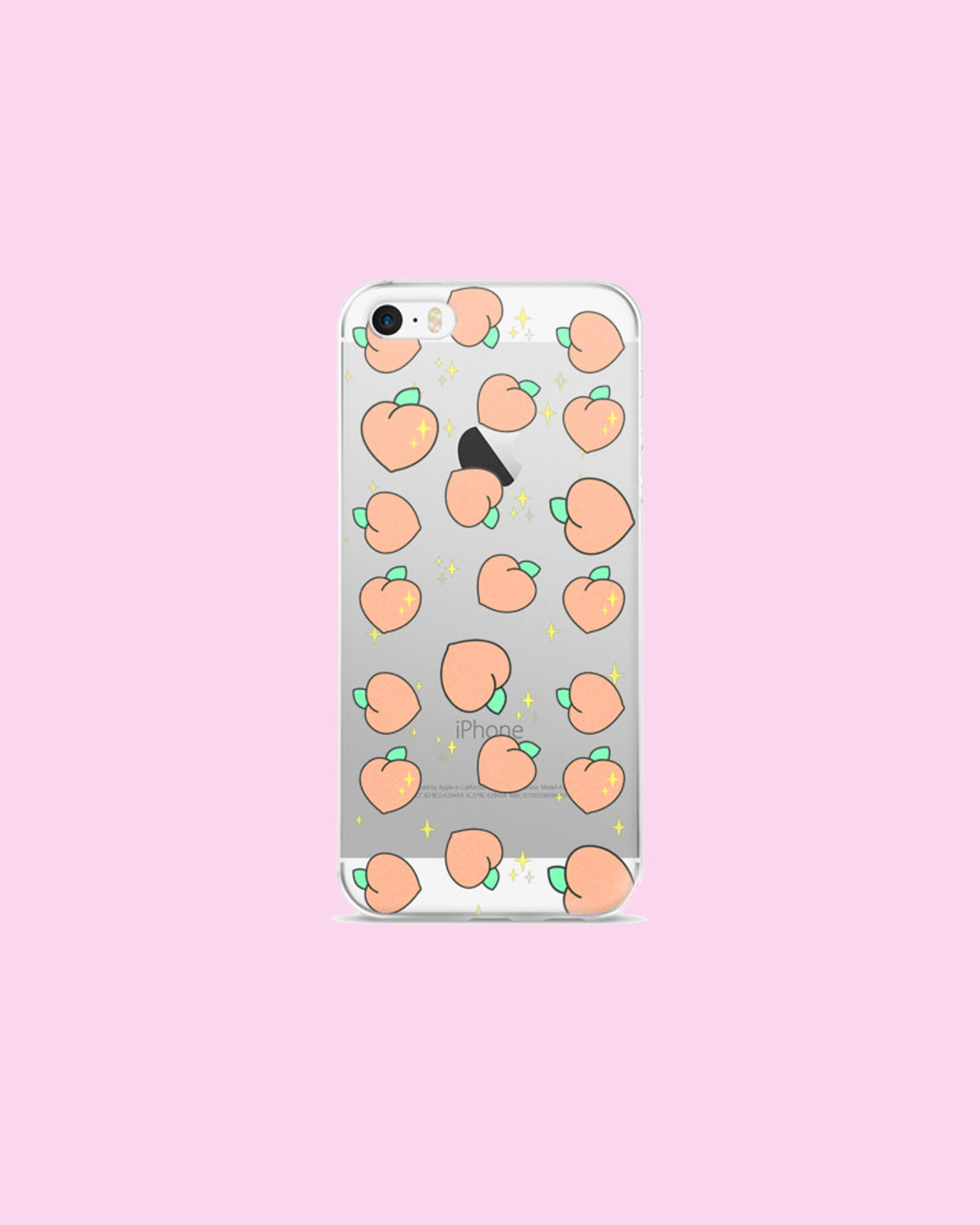 Sparkle Peach Tumble - Clear Plastic Phone Case for iPhones