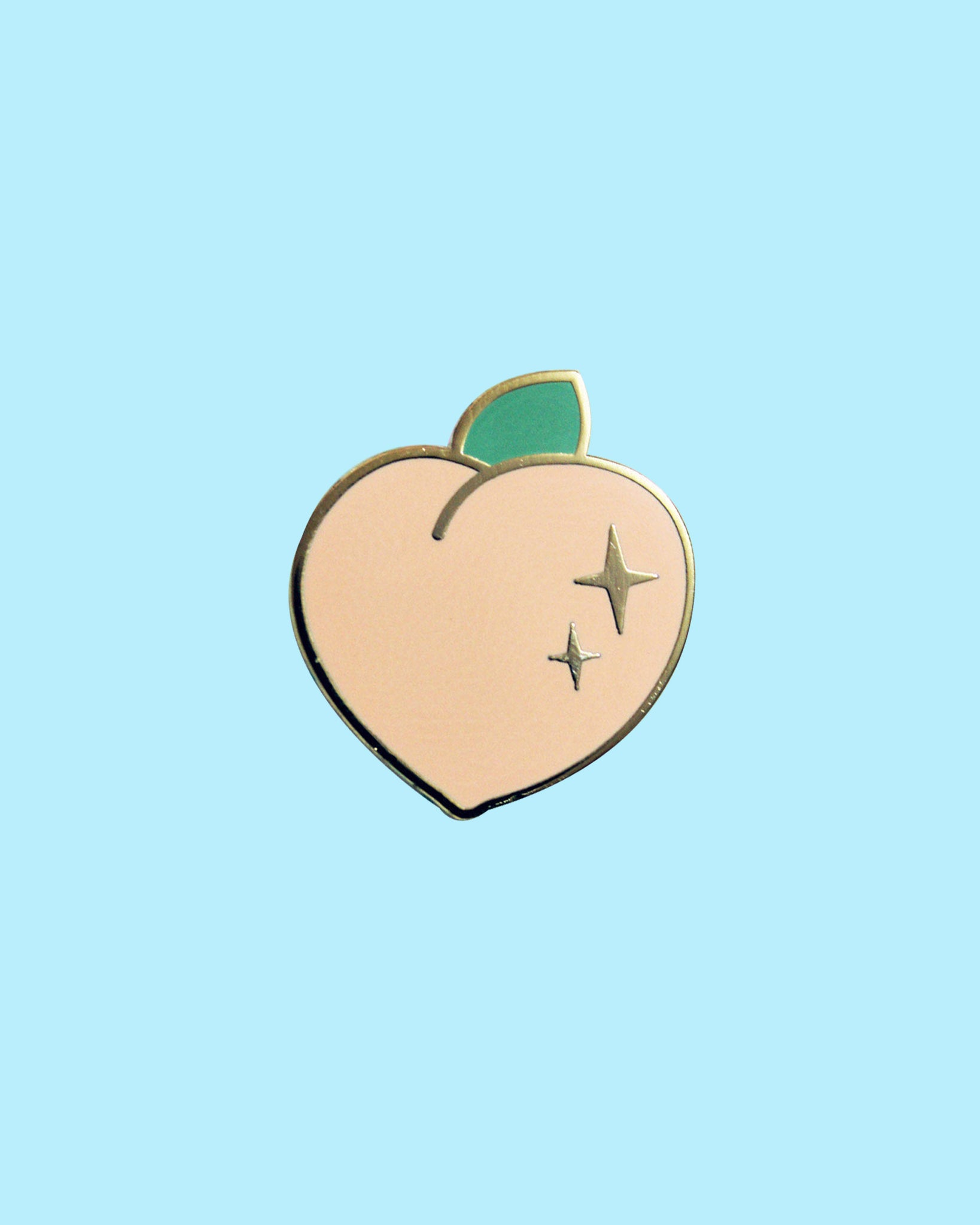 Peach Enamel Pin - Pastel Sparkle Peach Hard Enamel Pin - Aesthetic Kawaii Cute