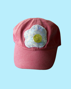 Handmade Fried Egg Applique Baseball Hat - Strapback Custom Colors
