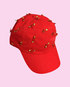 Rose Garden Dad Cap in Red - Hand Sewn Ribbon Rose Strapback Baseball Cap