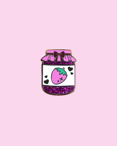 Strawberry Jam Hard Enamel Glitter Pin - Precious Preserves Series