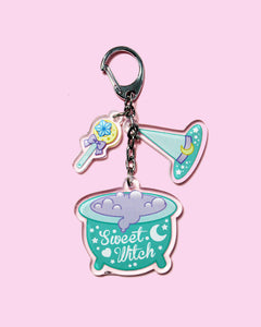 Sweet Witch Double Sided Acrylic Keychain/Bag Charm - Mint/Pink Color