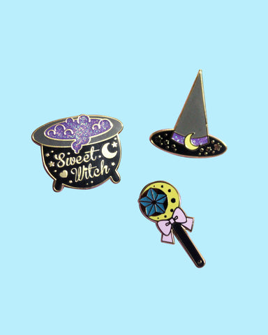 Sweet Witches Enamel Pins - Gold Plated Black