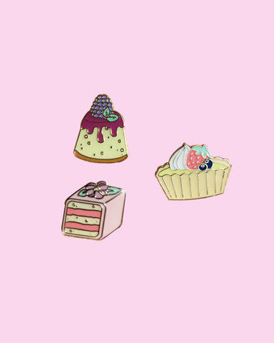 Mini Sweets Pins - Tea Cakes Petit Fours Fruit Tart Blackberry Cheesecake Bite