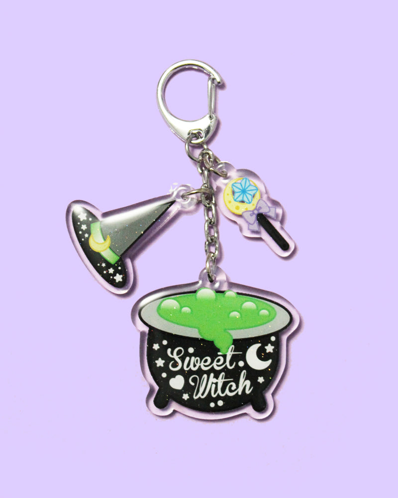 Sweet Witch Double Sided Acrylic Keychain/Bag Charm - Black/Purple Color