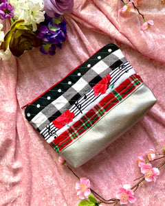 Coming Up Roses Handmade Flannel & Faux Leather Quilted Pouch