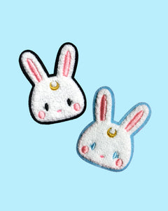 Kawaii Usagi Moon Bunny Sew-On Chenille Patch - 2 Colors Black or Light Blue - Flair Sailor Moon Inspired
