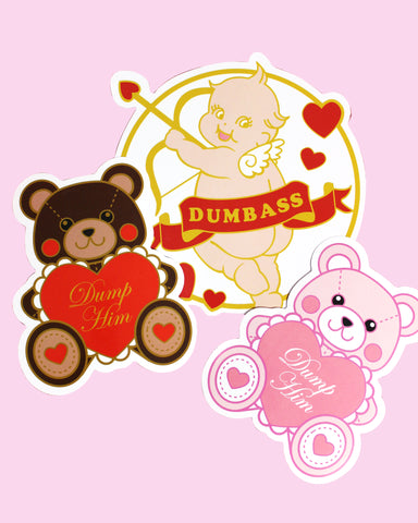 Large Valentine's Day Vinyl Stickers - Dump Him Bear and Stupid Cupid