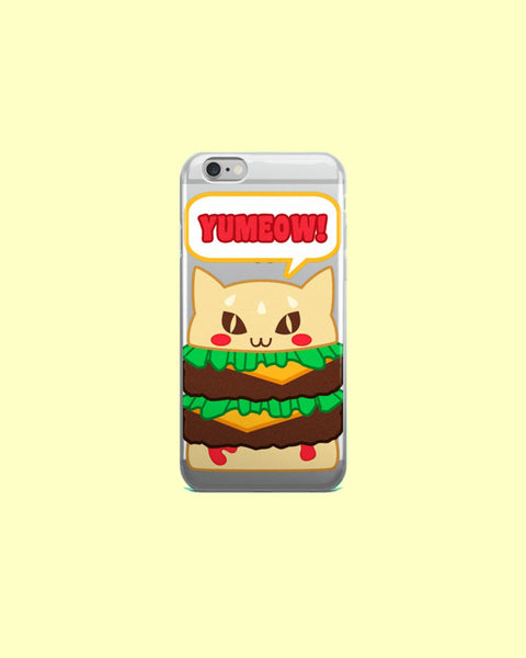 Kawaii Yumeow Cat Burger Clear Plastic Phone Case for iPhones - Kitty Hamburger Cheeseburger