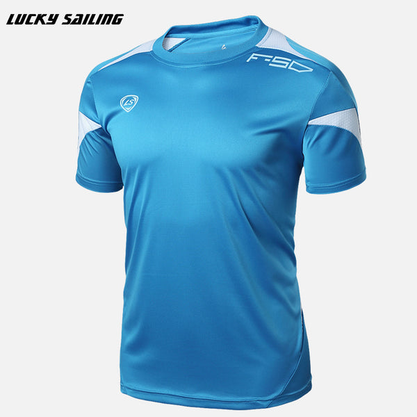 LUCKY SAILING 2016 Men's summer Tights Shirt Athletic Design T-shirt Running Fitness tees O-neck Short-sleeve Top Soccer Jerseys