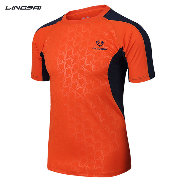 LINGSAI Brand New Arrival 2017 men Designer soccer jerseys T Shirt sports Quick Dry Slim Fit Breathabl shirts Tops & Tees M_XXXL