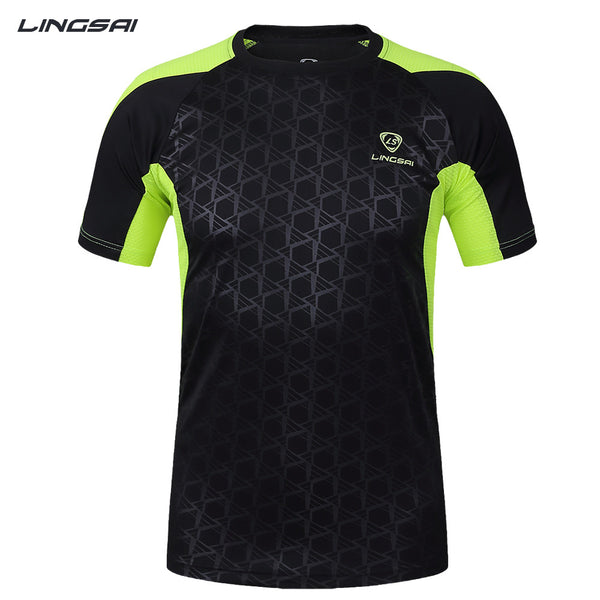 LINGSAI shirt men soccer jerseys 2017 New Mens t-shirt sportswear quick dry sport t shirt Men's Short Sleeve men t-shirt tshirt