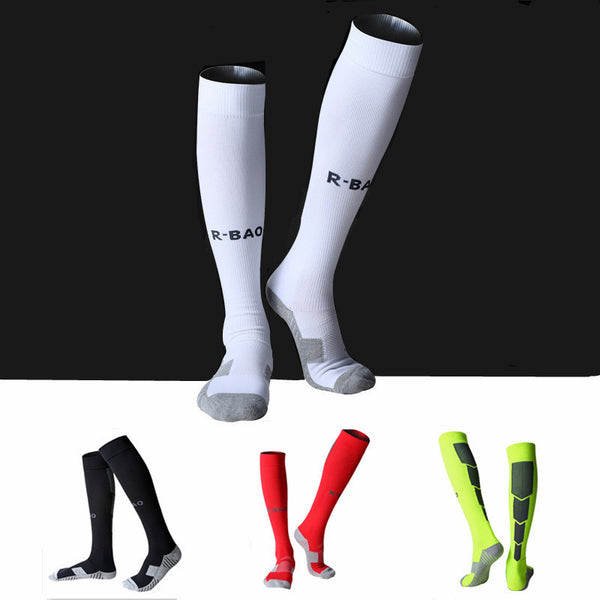 Men Football Soccer Socks High Quality Thicken Combed Cotton Towel Sport Chaussette  Above Knee Tube Durable Stockings S390