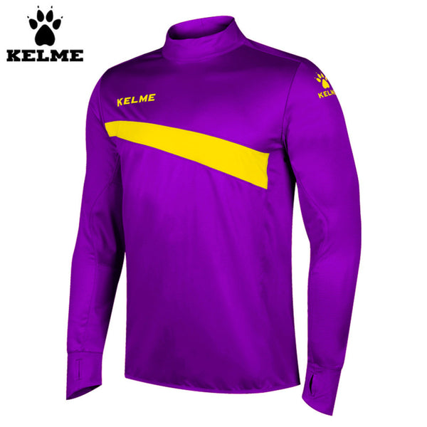 Kelme K15Z304 Men Soccer Jerseys Polyester Stand Collar Sharkskin Training Long-sleeved Pullover Purple