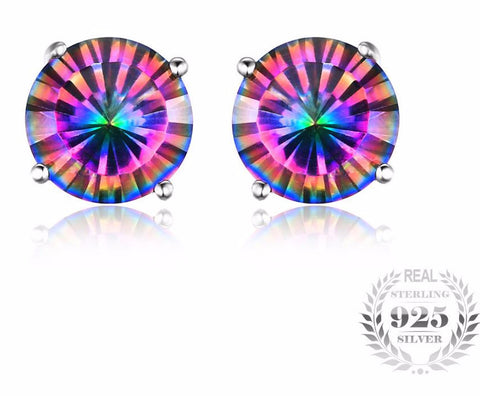 f6d28e024 Pure Solid 925 Sterling Silver Natural Mystic Rainbow Topaz Stud Earrings  Genuine