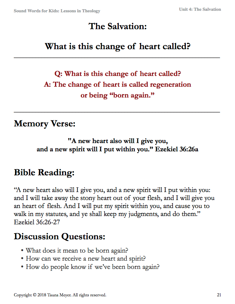 Salvation (Sound Words for Kids: Lessons in Theology, Unit 4)