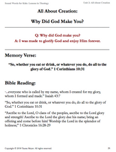 All About Creation (Sound Words for Kids: Lessons in Theology, Unit 2)