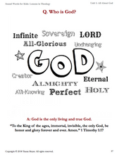 All About God (Sound Words for Kids: Lessons in Theology, Unit 1)