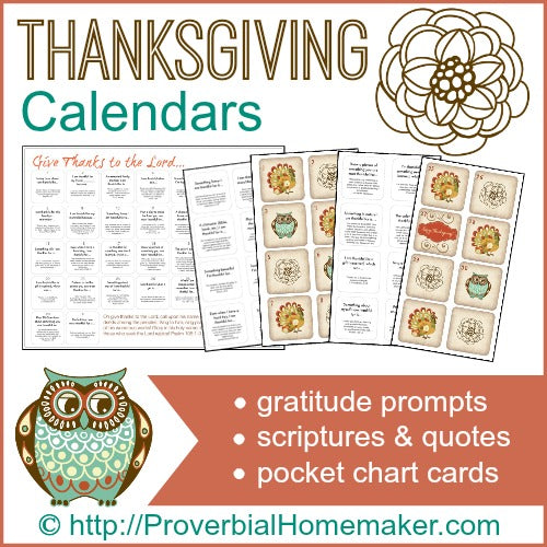Thanksgiving Countdown Calendars & Gratitude Prompts