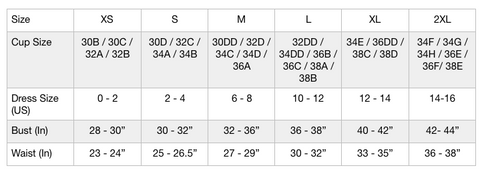 Groceries Bralette Size Chart